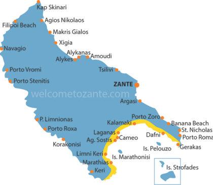Mapa południowego wybrzeża Zakynthos