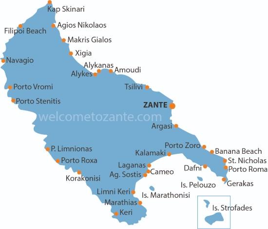 mappa di Zante