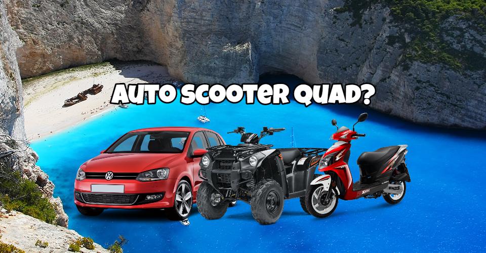 Noleggio auto scooter quad Zante