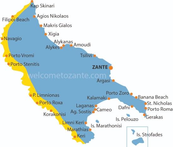 mappa di Zante cartina costa occidentale