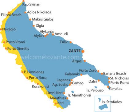 mapa plaży zachodniego wybrzeża zante