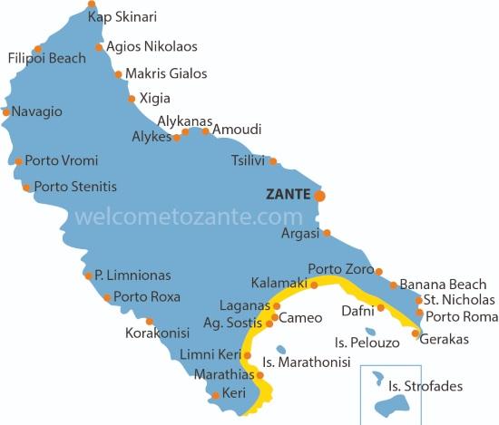 cartina Zante Mappa costa sud