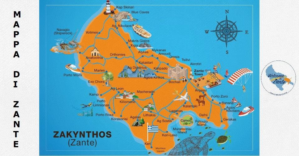 mappa di zante map zakynthos cartina
