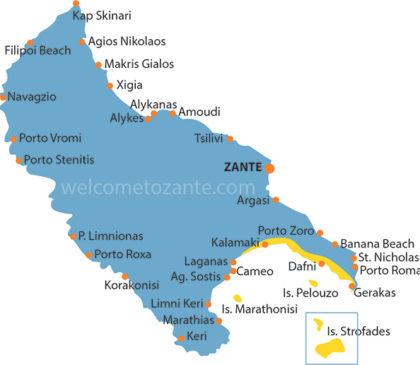 mappa parco marino zante