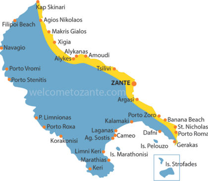 map beach coast eastern zante