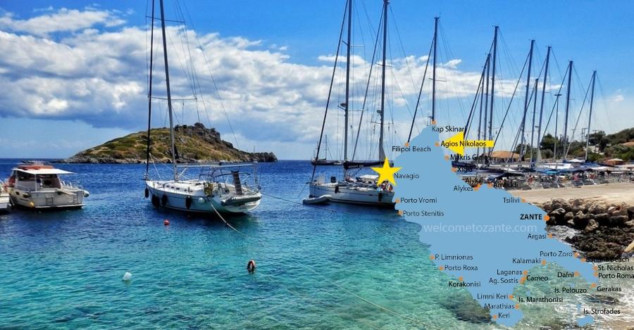 come arrivare alla Spiaggia del relitto Zante dal porto di San Nikolaos