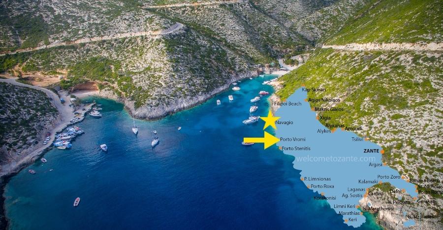 come arrivare alla Spiaggia del relitto Zante da Porto Vromi