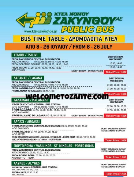 orari e percorsi autobus zante